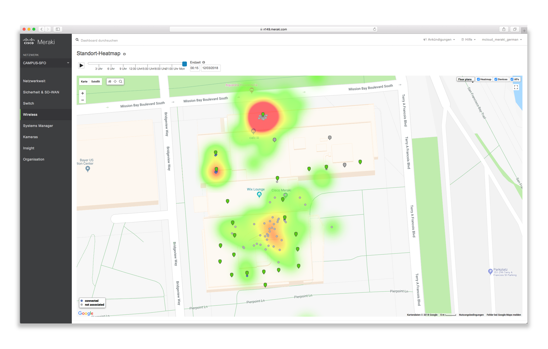 Screenshot vom Meraki Heatmap Interface